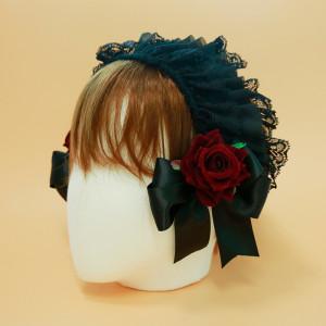 장미 레이스 머리띠 (블랙)