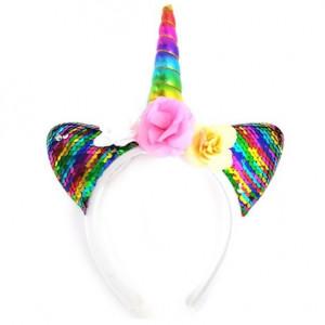 LED 유니콘 스팽글 머리띠