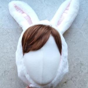 짧은 리얼 토끼 모자
